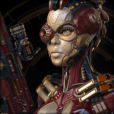 Space ranger Mod.2 [Red], Liudmila Kirdiashkina on ArtStation at https://www.artstation.com/artwork/KRQvr