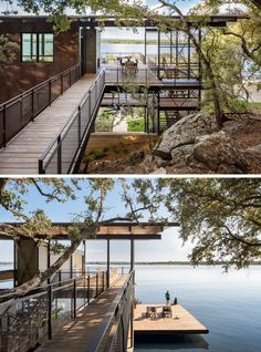 home in Marble Falls, Texas is all about the water views. As the home is quite tall, living spaces are all on the the top floor, set just above the tree line and providing nearly a 180 degree view of the lake beyond. // Blue Lake Retreat by Lake Residential Architecture, Modern Architecture, Lake Flato, Haus Am See, Casas Containers, Texas Homes, River House, Cliff House, House In The Woods