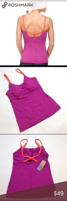 "Prana Nixie workout/yoga top Beautiful vivid viola fitted tank w/ shelf bra and removable pads. Adjustable straps. Chakara performance knit stretch fabric made from blue sign approved fabrics - a standard for environmentally friendly production methods. 93% nylon/7% spandex. Body length is 20"" measured from neckline, bust is 17"" measured flat & relaxed. Prana Tops Tank Tops"