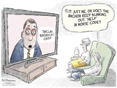 Allied Progress Tackles Sinclair-Tribune in Iowa Buys ad campaign to push Sen. Grassley to hold hearings by John Eggerton Allied Progress, which is opposed to the Sinclair-Tribune deal, says it has. Sinclair Broadcast Group, Bell The Cat, Comedy And Tragedy, Coding For Kids, Morse Code, Political Cartoons, Satire, Comic Strips, Politics