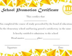 Promotion Certificate Template : Free Templates for Students, Employees & Army - Template Sumo Education Certificate, School Certificate, Warrant Officer, Word Free, Best Templates, Certificate Templates, Physical Education, Elementary Schools, Promotion