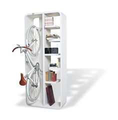 BookBike...love this storage solution for a bike if you really don't have anywhere else to store it!