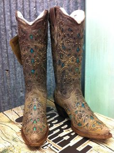 Cowgirl Clad Company - Corral Brown Crater Turquoise Inlay with Studs, $299.00 (http://www.cowgirlclad.com/corral-brown-crater-turquoise-inlay-with-studs/)