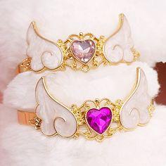 "Set Of 2pieces lolita magic heart wings bracelet SE9778      Coupon code ""cutekawaii"" for 10% off"