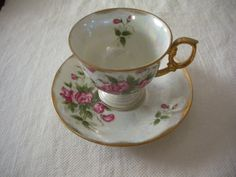 Ucagco, April Flower of the Month teacup and saucer, Sweet Pea
