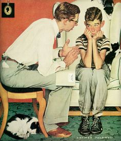 The Facts of Life, Norman Rockwell / Love it. Who hasn't been there? #art #painting #normanrockwell