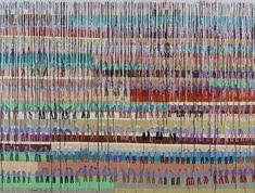 Horizontal color segments beneath dripping verticals. A people plantation.