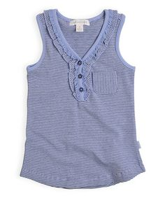 Loving this Miami Sky Stripe Ruffle Sleeveless Top - Infant, Toddler & Girls on #zulily! #zulilyfinds