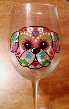 Sugar Skull Wine Glass Decorated Wine Glass by GettingMyArtsyOn