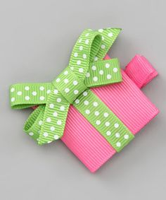 Take a look at this Pink Green Present Clip by Couture Hair Bows on tod Ribbon Hair Clips, Ribbon Hair Bows, Diy Hair Bows, Diy Bow, Diy Ribbon, Ribbon Crafts, Barrettes, Hairbows, Christmas Hair Bows