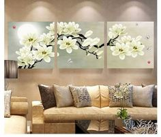 Online Cheap Wall Art Set Modern Picture Abstract Oil Painting Wall Decor Canvas Pictures For Living Room White Magnolia By Zhizihuakai Flower Painting Canvas, Oil Painting Flowers, Flower Canvas, Oil Painting Abstract, 3 Piece Wall Art, Wall Art Sets, Canvas Wall Art, Living Room White, Living Room Decor