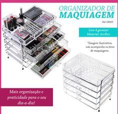 Organizador Acrílico Porta Maquiagem Pincel Batom 4 Gavetas - R$ 219,00 no MercadoLivre