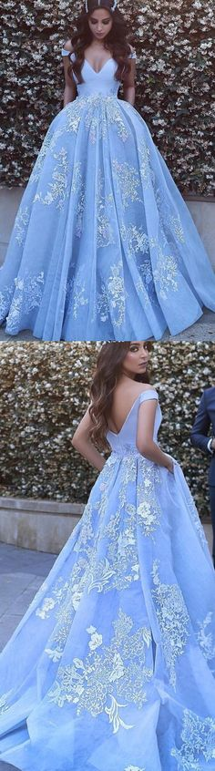 Blue Prom Dresses, Long Prom Dresses, Ball Gown Prom Dresses, Light Blue Prom Dresses, Prom Dresses Long, Prom Long Dresses, Prom Dresses Blue, Light Blue dresses, Long Evening Dresses, Ball Gown Dresses, Zipper Prom Dresses, Applique Prom Dresses, Floor-length Prom Dresses, Ball Gown Evening Dresses