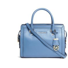 Michael Kors 'Collins' medium saffiano leather satchel (3,915 EGP) ❤ liked on Polyvore featuring bags, handbags, blue, michael kors handbags, blue handbags, satchel style handbags, blue purse and blue satchel handbags