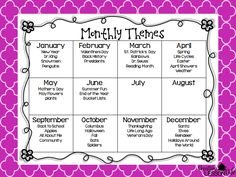 Creative Lesson Cafe: FREEBIE Classroom Organization by Monthly Themes