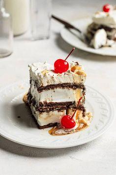 A piece of ice cream sandwich cake on a white plate. Ice Cream Treats, Ice Cream Desserts, Frozen Desserts, Summer Desserts, Ice Cream Recipes, Easy Desserts, Delicious Desserts, Dessert Recipes, Cake Recipes
