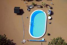 Un jardín inundado por las aguas del río Elba, en Magdeburgo, Sajonia Anhalt, Alemania (Reuters).