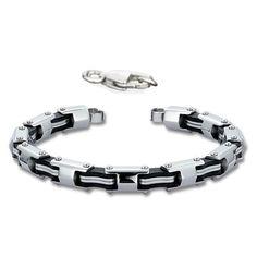 "Stainless Steel with Black Rubber Biker Bracelet (9"") Stylejewelry http://www.amazon.com/dp/B00873C2XA/ref=cm_sw_r_pi_dp_Z6bVtb0FEHVJGF1N"