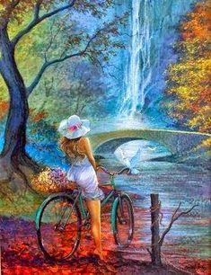 Pintura mulher de bicicleta...