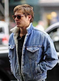 Jacket: shearling denim shearling shearling mens denim denim blue mens menswear sunglasses zac efron