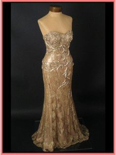 Gold Lace Dress | 40's Style beaded gold lace/satin evening/wedding gown on Wanelo
