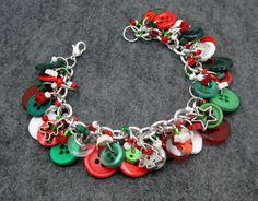 Button Charm Bracelet / Silver Charms Christmas by randomcreative, $23.00