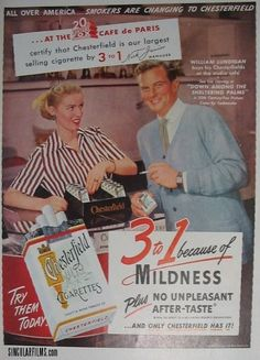 William Lundigan for Chesterfield cigarettes Vintage Cigarette Ads, Vintage Ads, Cigarette Case, Vintage Images, Chesterfield Cigarettes, Fox Pictures, Bad Memories, Childhood Memories, Old Advertisements