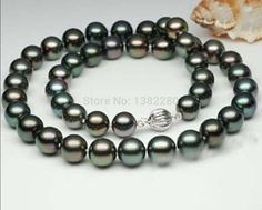 9-10mm Black pearl necklace 18inch DIY women beautiful jewelry making design wholesale  #Affiliate