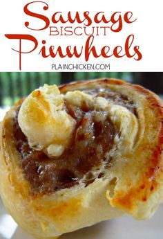 Sausage Biscuit Pinwheels - only 2 ingredients! We LOVE these! SO quick and easy. Perfect for a weekday morning, brunch or even tailgating!…