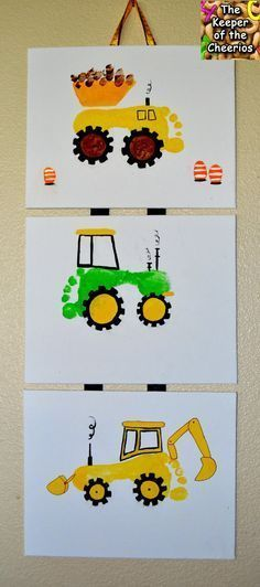 Foot print tractor craft, wall hanging - these cute DIY tractors will be something you'll want hanging on your wall for a long time - so cute!