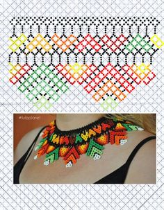 Beading Patterns Free, Bead Loom Patterns, Blackwork Embroidery, Embroidery Patterns, Diy Necklace Patterns, Beaded Jewelry, Beaded Necklace, Kente Styles, Peyote Beading
