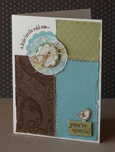 "Lovely ""You're Special"" Pieced & Stitched Card...Kelly Rasmussen."