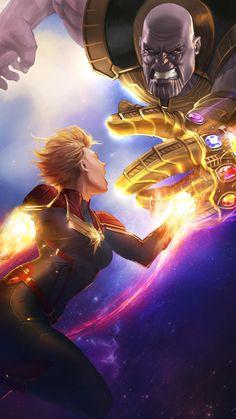 Thanos Vs Captain Marvel Fight Avengers Endgame iPhone Wallpaper - iPhone Wallpapers