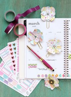 DIY Flower Planner Clips: Make cute floral planner clips from paper! An easy way to add personality to your planner.