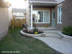 Smooth concrete porch and add stone siding for upgraded look, patios tiles to match for slab