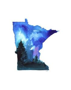 size: Giclee Print: Minnesota State Watercolor by Jessica Durrant : Artists This exceptional art print was made using a sophisticated giclée printing process, which deliver pure, rich color and remarkable detail. Minnesota Outline, Minnesota Tattoo, Minnesota Wild, Minnesota Vikings, Watercolor Illustration, Watercolor Art, Watercolor Paintings For Beginners, Outline Art, Painting Edges