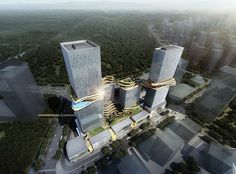 Hengqin CRCC Plaza, Zhuhai, Guangdong, Southern China design by Aedas Architects - signature sky bridge linking all four towers, creating a loop in the sky Office Building Architecture, Futuristic Architecture, Concept Architecture, Amazing Architecture, Public Architecture, Organic Architecture, Building Facade, Architecture Design, Sky Bridge