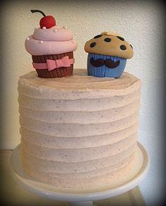 Cupcake Or Stud Muffin Gender Reveal Cake