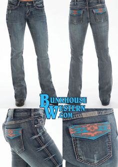 Cowgirl Tuff Jeans, Cowgirl Style, Aztec Designs, Classy Style, Coral Blue, Country Girls, Rodeo, Breeze, Blue Jeans