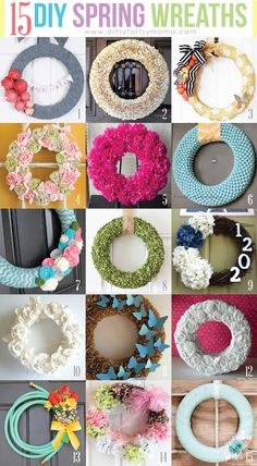 15 DIY Spring Wreaths (I LOVE THE GARDEN HOSE!!!)