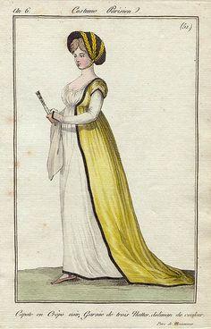 An 6 Costume Parisien No 51 Journal des dames et des modes 1800s Fashion, 18th Century Fashion, Victorian Fashion, Vintage Fashion, Victorian Dresses, Victorian Gothic, Steampunk Fashion, Gothic Lolita, Gothic Fashion