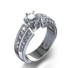 Three Row Channel Set Diamond Ring in 14k White Gold $2090