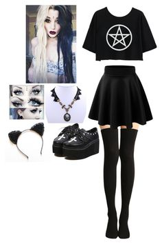 """#Goth"" by kylaamador ❤ liked on Polyvore featuring moda, women's clothing, women's fashion, women, female, woman, misses e juniors"