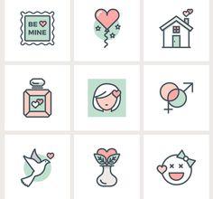 valentine flat line icons