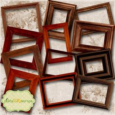 Wooden Collection Vol1 - Digital Wooden Frames - Digital Scrapbooking Elements - INSTANT DOWNLOAD