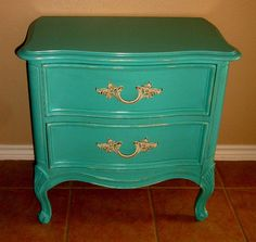 Facelift Furniture: Turquoise French Provincial Nightstand