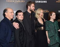 "(L-R) Jon Kilik, Josh Hutcherson, Liam Hemsworth, Jennifer Lawrence and Julianne Moore atttend ""The Hunger Games: Mockingjay- Part 2"" New York Premiere at AMC Loews Lincoln Square 13 theater on November 18, 2015 in New York City."