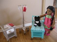 Vet office for AG dolls. Available for JANUARY 2015 IV Cart IV by paynestdollboutique