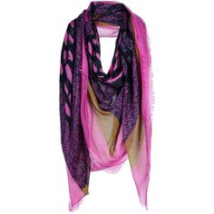 Balenciaga Square Scarf (£172) ❤ liked on Polyvore featuring accessories, scarves, fuchsia, colorful shawl, gauze scarves, balenciaga, fringe shawl and fringe scarves