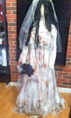 Corpse Bride inspired altered Wedding Dress Costume Plus Size Halloween OOAK…